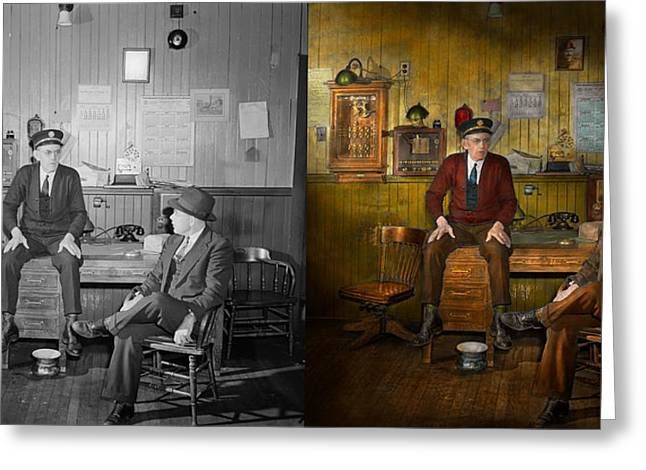 Firemen - Sharing His Wisdom - 1942 Side By Side Greeting Card by Mike Savad