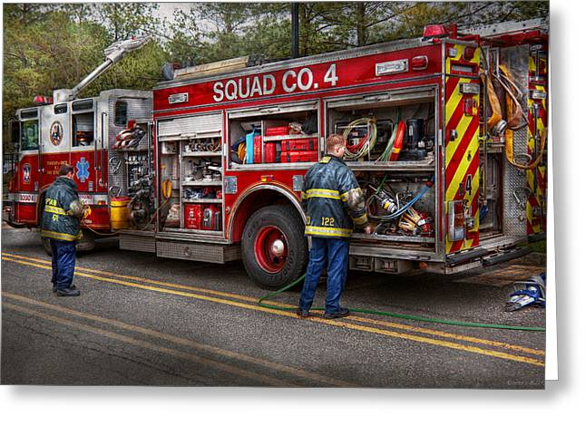 Firemen - The Modern Fire Truck Greeting Card by Mike Savad