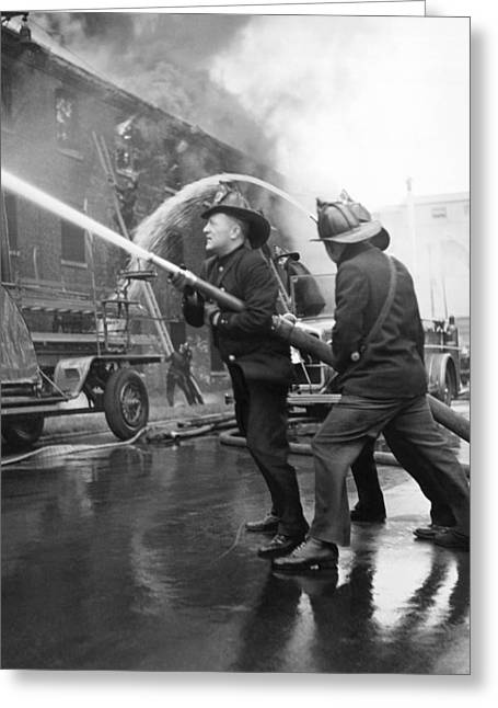 Firemen With Hose Greeting Card by Underwood Archives