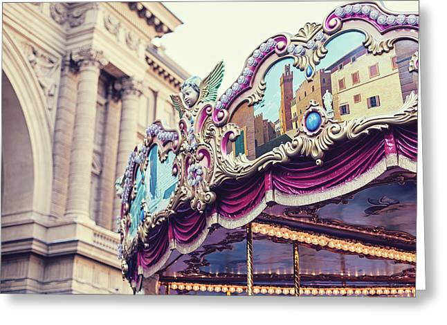 Firenze Carousel Greeting Card by Melanie Alexandra Price