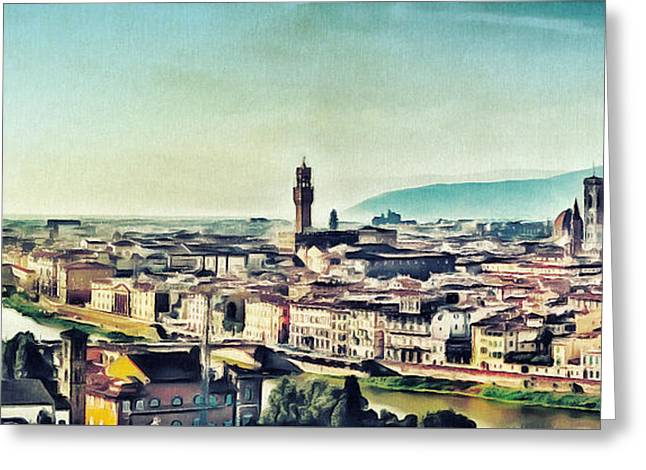 Firenze - Florence Skyline Art Painting Greeting Card by Wall Art Prints
