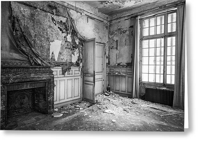 Fireplace In Decay -abandoned Building Greeting Card by Dirk Ercken