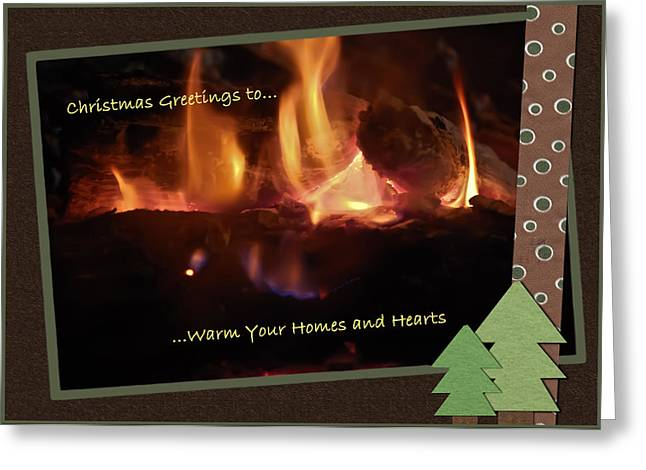 Gray Flames Greeting Cards - Fireside Christmas Greeting Greeting Card by DigiArt Diaries by Vicky B Fuller