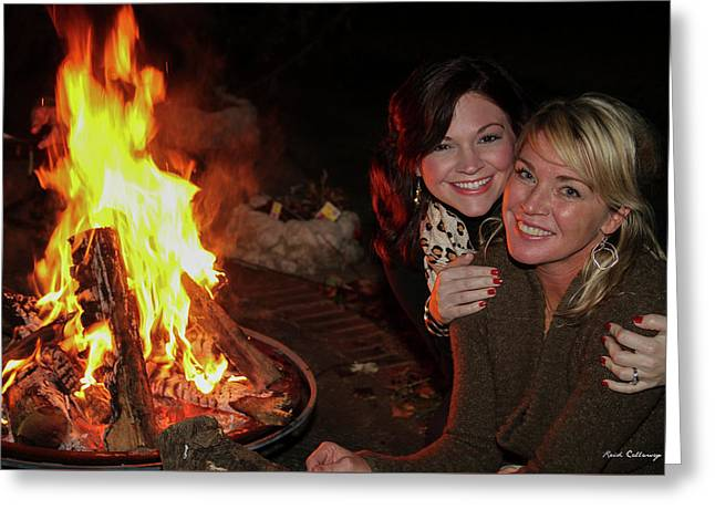 Greeting Card featuring the photograph Fireside Sisterly Love Night Photography Art by Reid Callaway