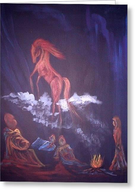Fireside Tales Greeting Card by Rhonda Myers