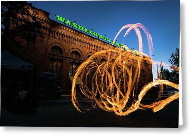 Firespinner Spokane Wa Greeting Card by Steve Gadomski