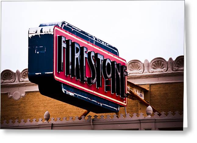 Firestone Horizontal Neon Greeting Card by David Waldo