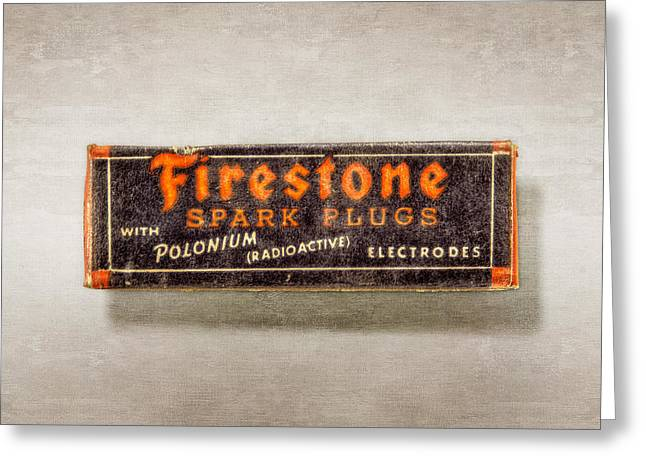Firestone Spark Plugs Box Greeting Card by YoPedro