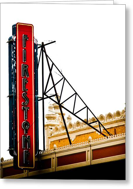 Firestone Vertical Neon Greeting Card by David Waldo