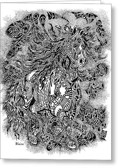 Firestorm In Black And White Greeting Card