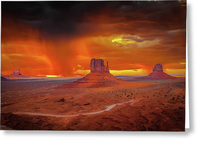 Firestorm Over The Valley Greeting Card