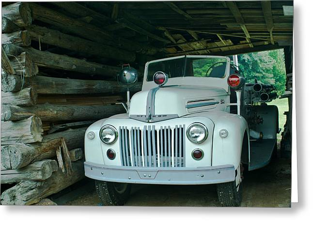 Firetruck In A Barn Greeting Card