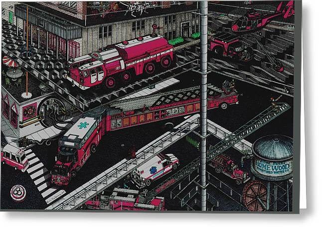 Firetrucks Greeting Card by Richie Montgomery
