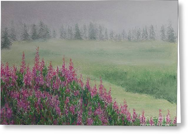 Fireweeds Still In The Mist Greeting Card by Stanza Widen