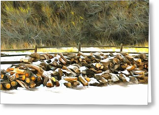 Greeting Card featuring the photograph  Floyd Snyder by Firewood in the Snow at Fort Tejon
