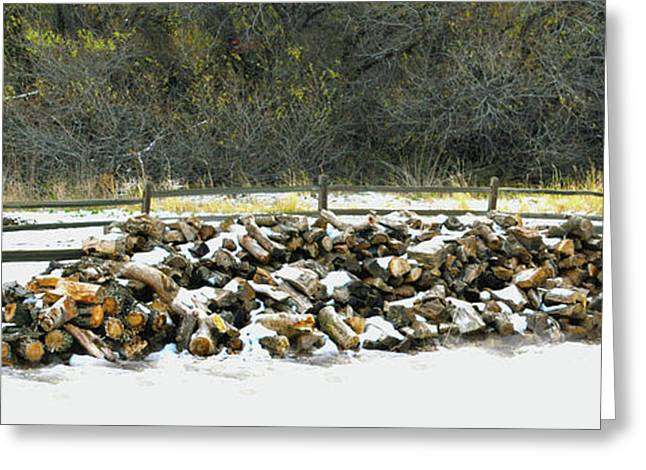 Greeting Card featuring the photograph Firewood In The Snow At Fort Tejon by Floyd Snyder
