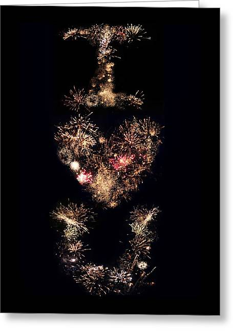 Firework Love Greeting Card by Adam Smith