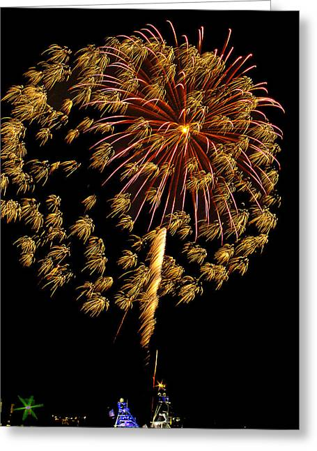 Greeting Card featuring the photograph Fireworks 10 by Bill Barber
