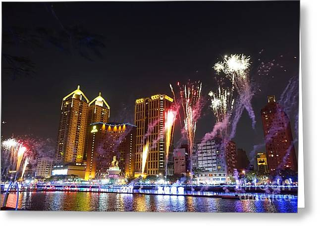 Fireworks Along The Love River In Taiwan Greeting Card by Yali Shi