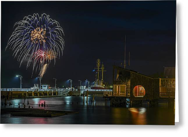 Fireworks And 17th Street Docks Greeting Card