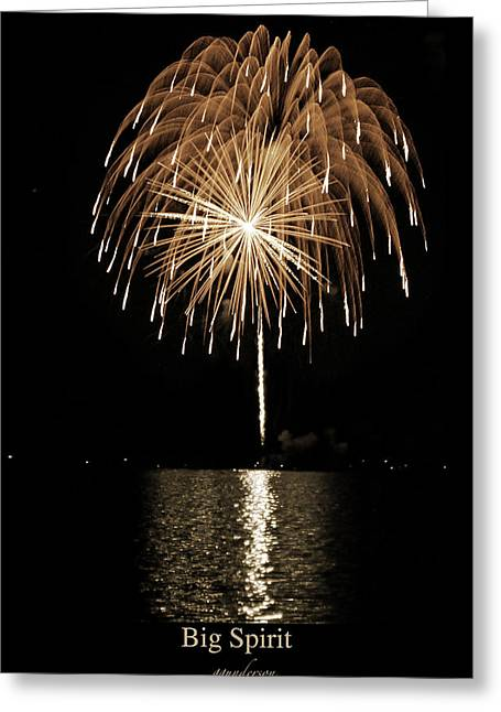 Fireworks At Big Spirit Lake Greeting Card