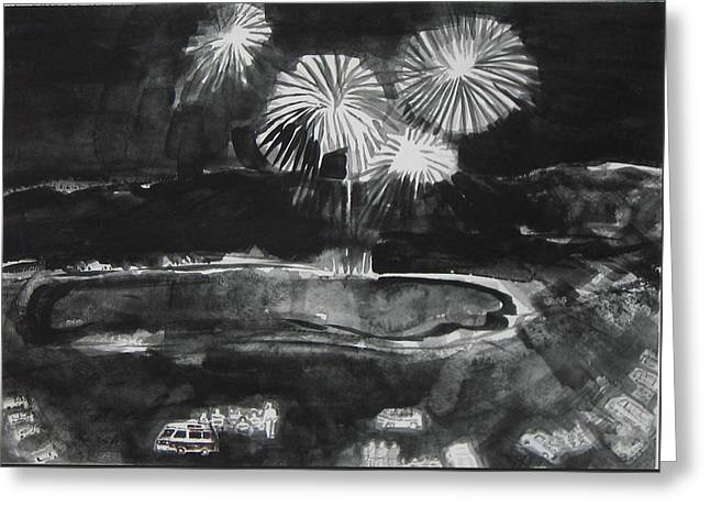 Fireworks At Eagle Nest Lake...0oohh..aahh.. Greeting Card by Laurie Hill Phelps