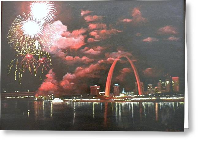 Fireworks At The Arch Greeting Card