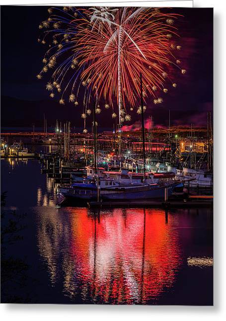 Fireworks At The Docks Greeting Card