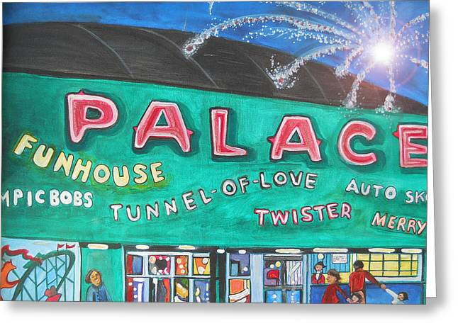 Greeting Card featuring the painting Fireworks At The Palace by Patricia Arroyo