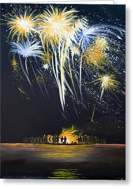 Fireworks Bonfire On The West Bar Greeting Card by Charles Harden