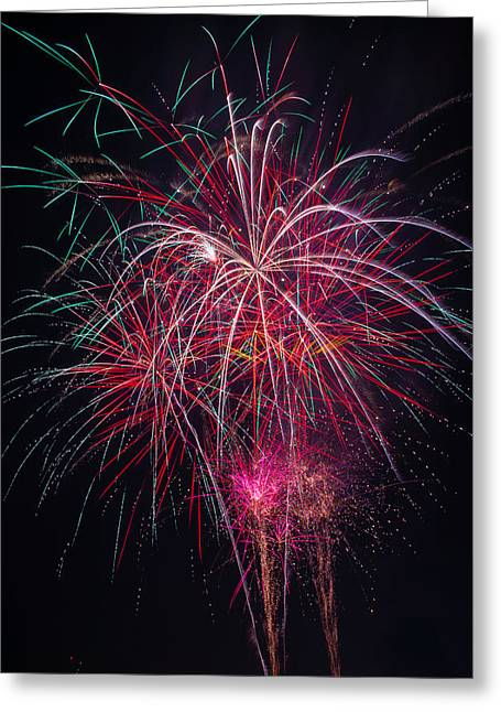 Fireworks Bursting In Night Sky Greeting Card by Garry Gay