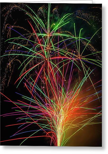 Fireworks Bursting In Sky Greeting Card