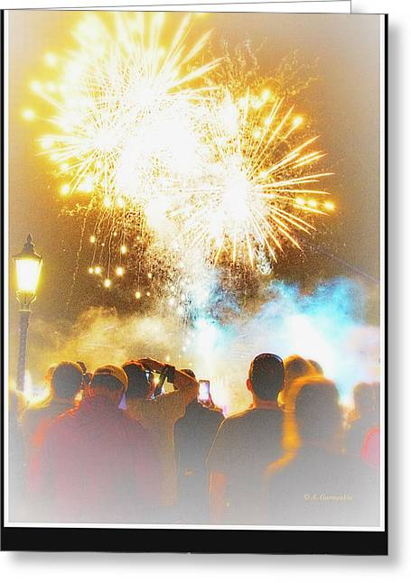 Fireworks Display And Audience, Epcot Greeting Card