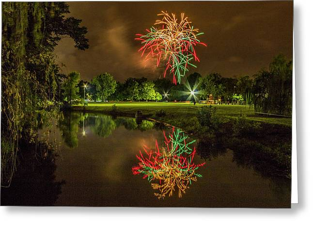 Fireworks During Fair St Louis In Forest Park Greeting Card