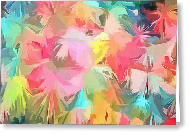 Fireworks Floral Abstract Square Greeting Card by Edward Fielding