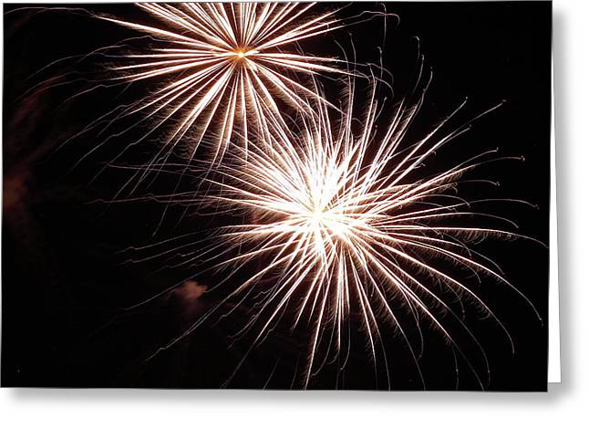 Fireworks From A Boat - 5 Greeting Card
