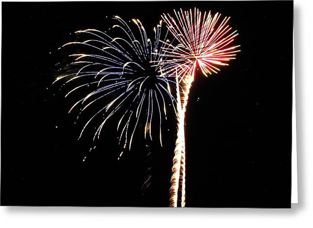 Fireworks From A Boat - 7 Greeting Card