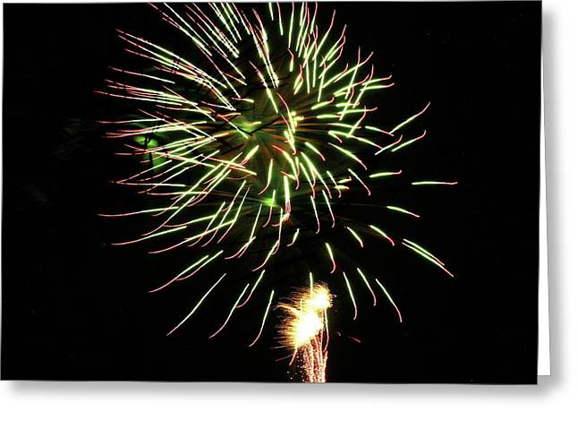 Fireworks From A Boat - 8 Greeting Card