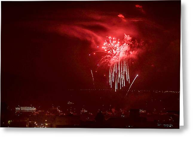 Fireworks In Red And White Greeting Card