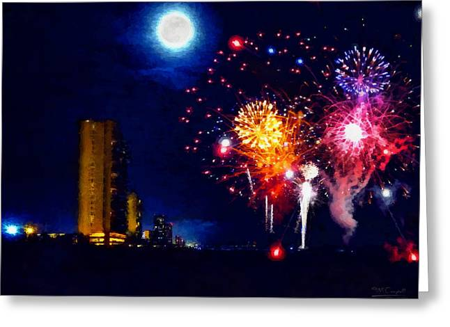 Fireworks In The Moonlight Greeting Card by Theresa Campbell