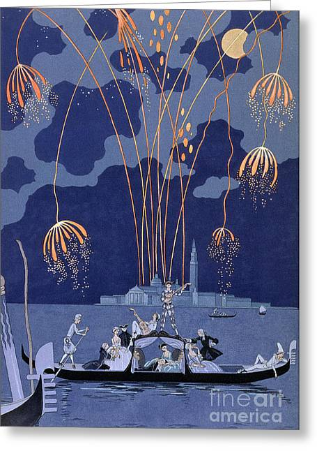 Fireworks In Venice Greeting Card by Georges Barbier