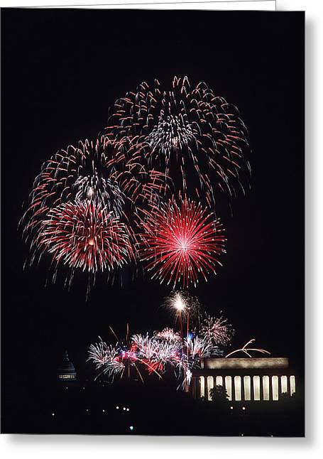 Firework Display Greeting Cards - Fireworks Light Up The Night Sky Greeting Card by Stocktrek Images