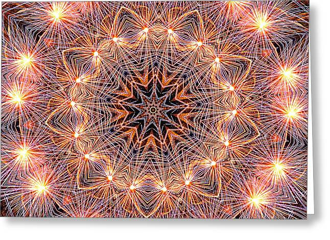 Fireworks Mandala By Kaye Menner Greeting Card by Kaye Menner