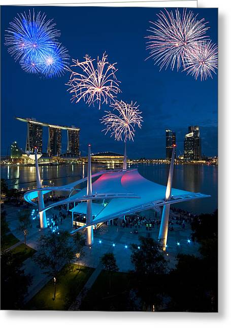 Greeting Card featuring the photograph Fireworks by Ng Hock How