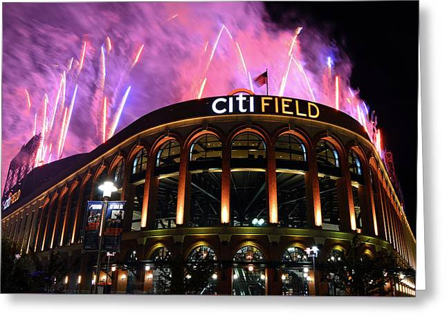 Fireworks Night At Citifield Greeting Card