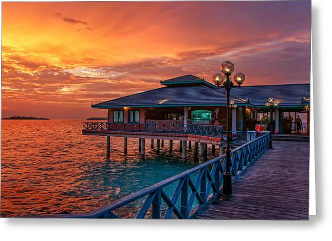 Fireworks Of Colors. Maldives Greeting Card
