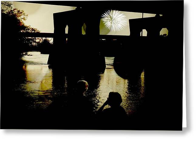 Fireworks On The River Greeting Card