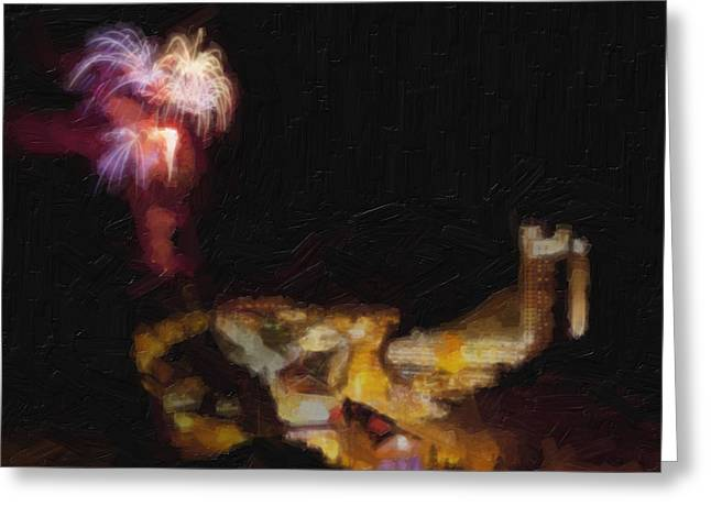 Exposure Paintings Greeting Cards - Fireworks Over Blackhawk Colorado Greeting Card by David Renner