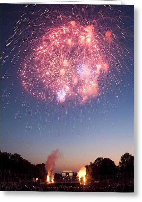Fireworks Over Lincoln Greeting Card by Colleen Joy