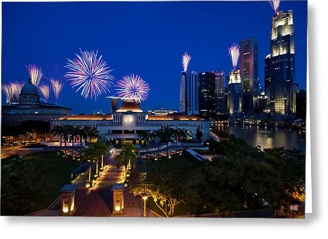Greeting Card featuring the photograph Fireworks Over Parliament by Ng Hock How